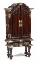 A small Dutch Colonial padouk, rosewood and ebony brass-mounted cabinet, 19th century