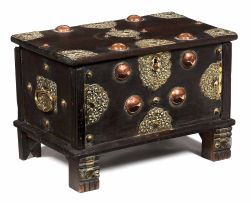 A Dutch Colonial hardwood, copper and brass mounted deeds box, 19th century