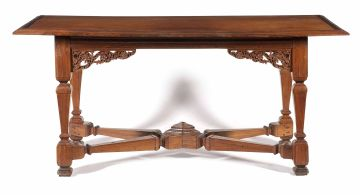 A Dutch East Indies amboyna, teak and rosewood table, 18th century