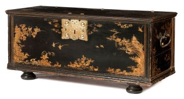 A Chinoiserie black and gilt lacquered chest, late 18th/early 19th century