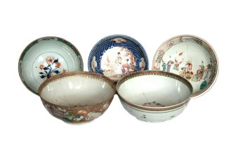 Five Chinese Famille-Rose bowls, Qianlong, 18th century