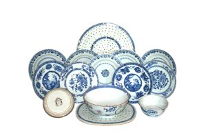 A miscellaneous group of Chinese blue and white wares, Qing Dynasty, 18th/19th century