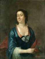 English School 18th Century; Portrait of a Lady feeding her Parrot