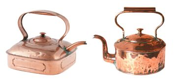 A large copper kettle, possibly Dutch