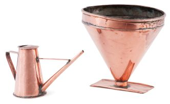 A copper rain gauge