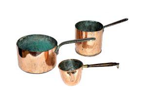 Two copper saucepans