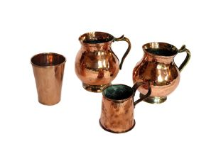 Two copper and brass tankards