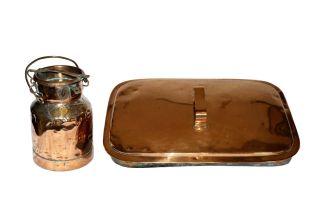 A copper 1-gallon milk can and cover