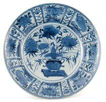 A Japanese Arita blue and white dish, 18th century