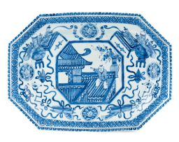 A Chinese blue and white dish, 19th century
