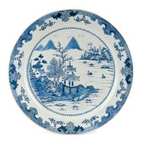 A Chinese blue and white charger, Qing Dynasty, 18th century