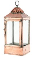 A copper and glass hanging lantern, 19th century