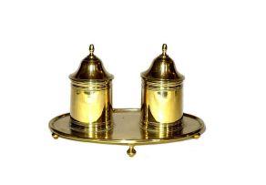 A brass inkstand, modern