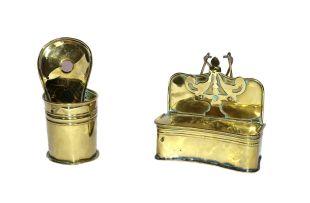 A brass wall-mounted salt box, 19th century