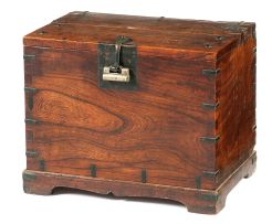 A Korean elm wood money chest, late 19th century