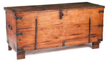 A pine and iron-mounted grain chest, 18th century