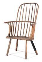 An elmwood Windsor armchair, 18th century