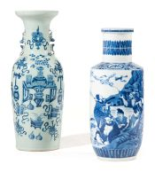 A Chinese blue and white vase, late 19th century