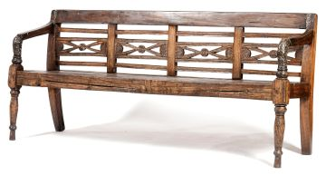 Two Indonesian teak benches