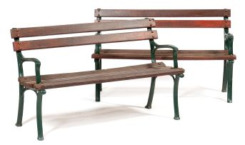 A pair of garden benches