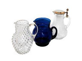 Three glass jugs, 20th century