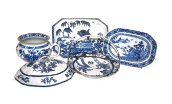 A Chinese silver-mounted blue and white dish, 18th century