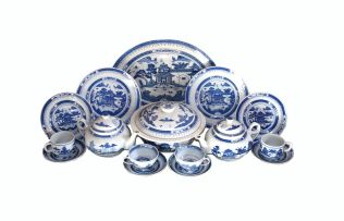 A Chinese blue and white Nankin pattern part dinner, tea and coffee service, modern