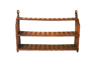 A set of fruitwood open hanging egg storage shelves, 19th century