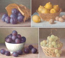 Gerald Norden; Grapes in a Basket; Dark Plums; Plums in a Paper Bag; Plums in a Saucer; Lemons in a Basket, five