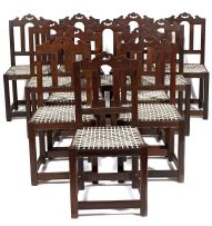 A set of twelve imbuia Tulbagh style dining chairs, 20th century