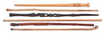 Six African walking sticks