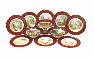 A Staffordshire part fruit set, late 19th century