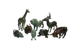 Eight bronze figures of animals