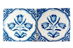 Thirteen Dutch Delft blue and white tiles, 18th and 19th century