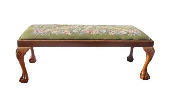 A beech and upholstered stool, early 20th century