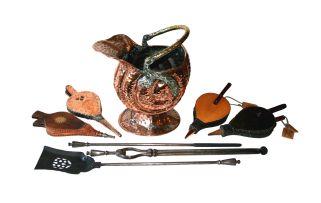 A copper and brass coal scuttle