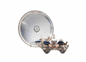A Sheffield plated inkstand, late 19th century