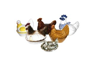 Six earthenware hen egg baskets, modern