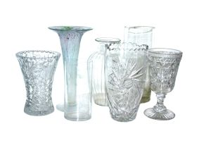 A miscellaneous group of seven glass vases