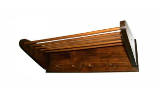 A fruitwood wall-mounted hat and coat rack