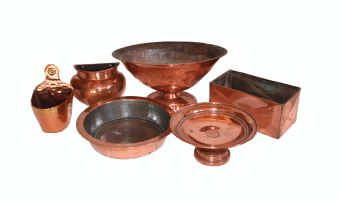 A miscellaneous group of copper and brass wares