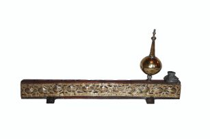 A Cape brass-mounted teak travelling Menorah lamp, 19th century