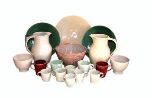 A David Walters celadon-glazed drinking set, modern