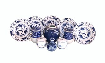 A miscellaneous group of Oriental blue and white wares, modern