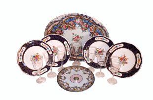 A set of twelve Woburn Abbey 'Sèvres' style enamel picnic plates, modern