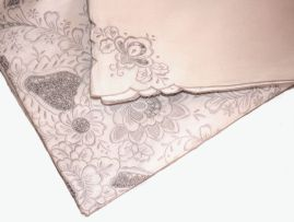A Chinese écru linen tablecloth and twenty-four napkins, modern