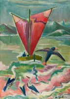 Maggie Laubser; Boat and Birds in a Seascape