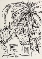 Irma Stern; Village Scene with Palm Trees, Zanzibar