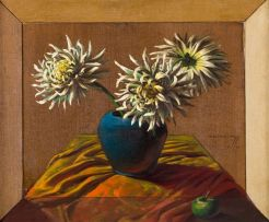 Vladimir Tretchikoff; Still Life with Chrysanthemums and Apple