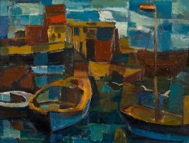 Alfred Krenz; Boats in a Harbour